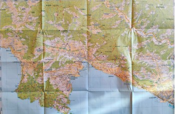 Portofinotrek paper trail map starting from Camogli, Portofino Park, Rapallo, Zoagli up to Chiavari