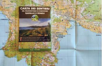 Carte papier des sentiers de Portofinotrek à partir de Camogli, Portofino Park, Rapallo, Zoagli jusqu'à Chiavari