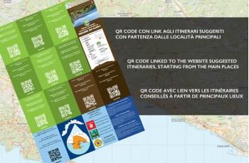 Back of Portofinotrek paper trail map starting from Camogli, Portofino Park, Rapallo, Zoagli up to Chiavari